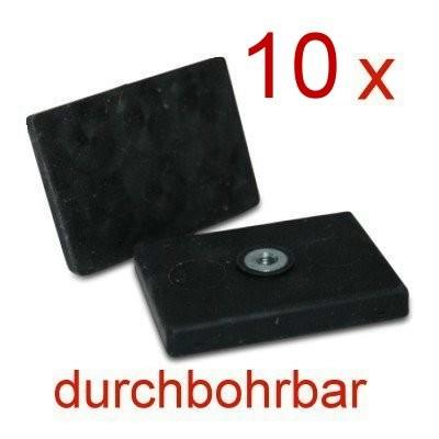 10 Magnetsysteme gummiummantelt 43x31 mm mit Innengewinde