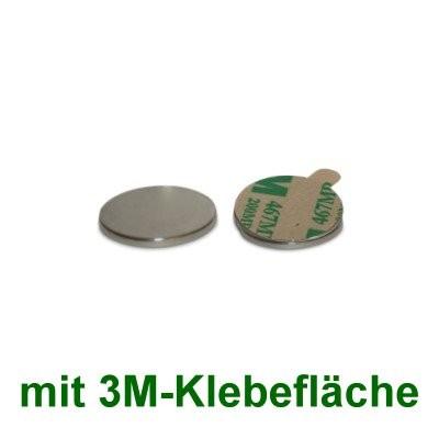 40 Scheibenmagnete 10x1 mm mit Klebefläche