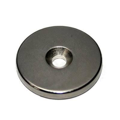 Scheibenmagnet 30x4 mm Neodym N42 mit Senkung für M5-Schraube