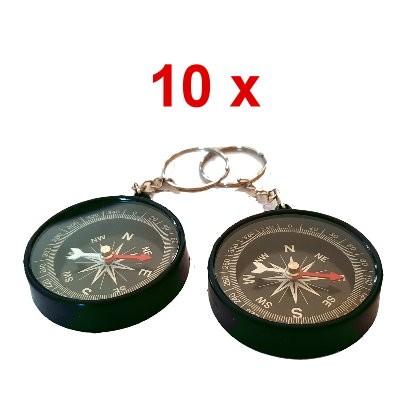 10 Kompasse 45 mm mit Schlüsselring