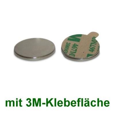 10 Scheibenmagnete 20x2 mm selbstklebend