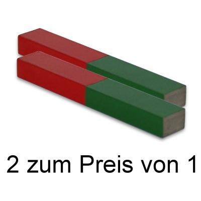 2 Quadermagnete 100x15x10 mm Al5 rot-grün II. Wahl