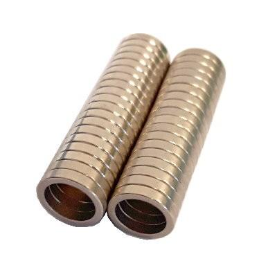 37 Ringmagnete 14,2x10,8x2,65 mm Nd Ni