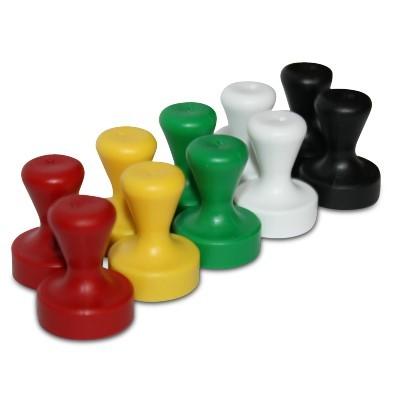 10 Griffmagnete Neodym 17x22 mm, Set in 5 Farben