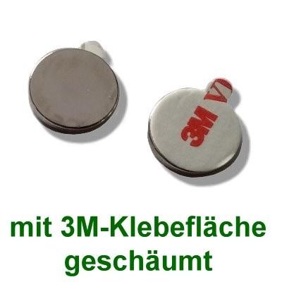 10 Scheibenmagnete 20x2 mm selbstklebend auf Polsterschaum