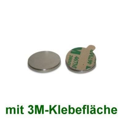 20 Scheibenmagnete 10x2 mm selbstklebend