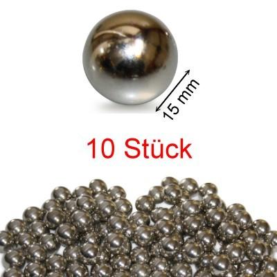 10 Stahlkugeln 15 mm ungehärtet