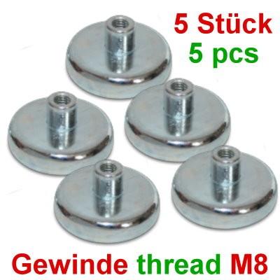 5 Topfmagnete 36 mm Typ D mit M8-Gewinde - Sonderpreis