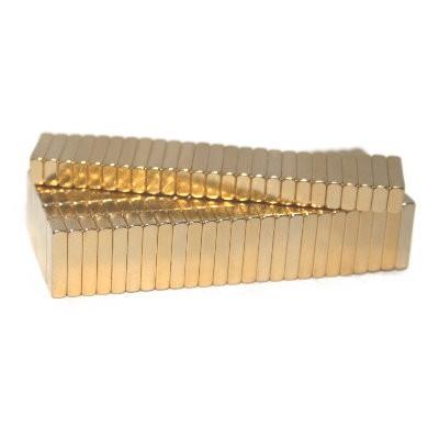 150 Quadermagnete 10x4x2 mm Gold
