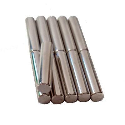 11 Stabmagnete 8x40 mm N48 Nickel