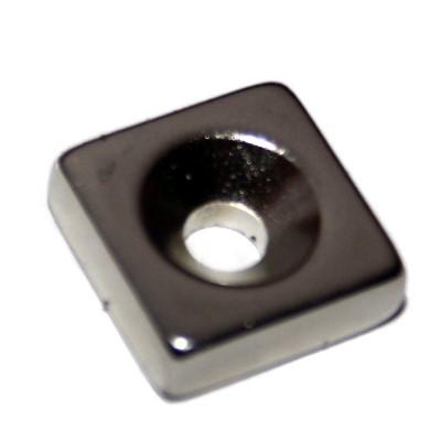 Quadermagnet 15x15x5 mm N45 Nickel mit Senkung