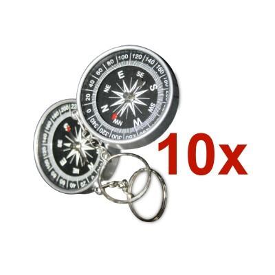 10 Kompasse 40 mm mit Schlüsselring