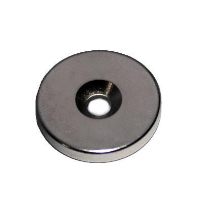 Scheibenmagnet 25x4 mm Neodym N42 mit Senkung für M5-Schraube
