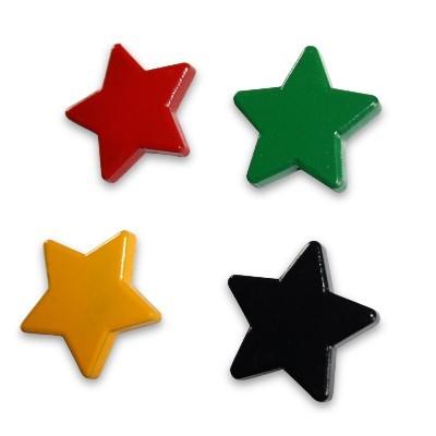 4 Sternmagnete Ferrit, Set in vier Farben