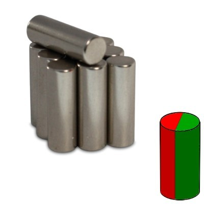 Stabmagnet 5x15 mm N45 Nickel diametral