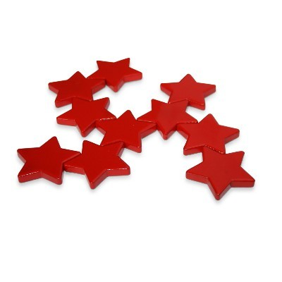 10 Sternmagnete Ferrit, rot lackiert