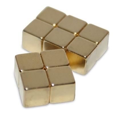 Würfelmagnet 5 mm N42 Gold