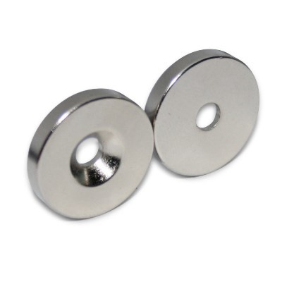 Ringmagnet 20x4,5x3,5 mm N42 Nickel mit Senkung