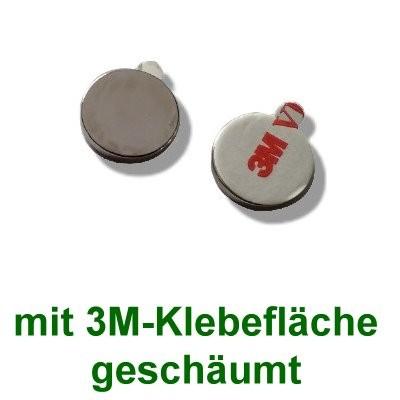 20 Scheibenmagnete 15x2 mm selbstklebend auf Polsterschaum