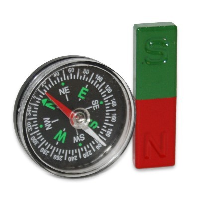 Kompassset: Kompass 40 mm mit Quadermagnet