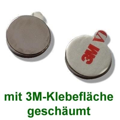 10 Scheibenmagnete 25x2 mm selbstklebend auf Polsterschaum
