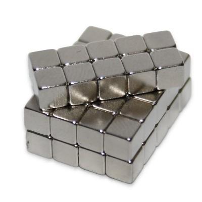 Würfelmagnet 4 mm N50 Nickel