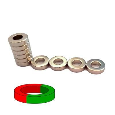 Ringmagnet 12x6x3 mm N42 Nickel diametral