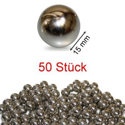 50 Stahlkugeln 15 mm ungehärtet