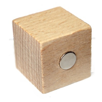 Pinnwandmagnet Naturholzwürfel mit Neodym 30 mm