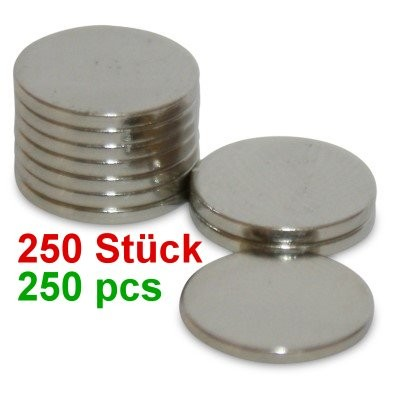 250 Scheibenmagnete 10x1 mm N42 Nickel zum Sonderpreis