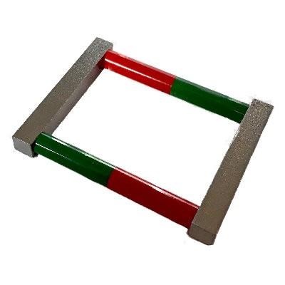 Set: 2 Stabmagnete 10x75 mm Al5 rot-grün mit Joch und Ösen
