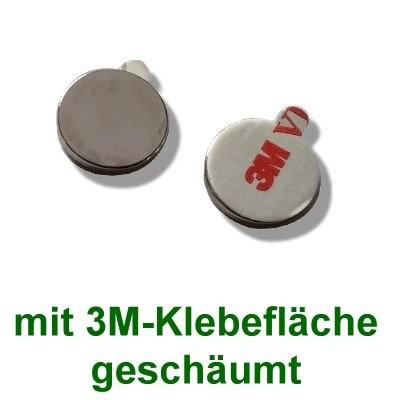 10 Scheibenmagnete 18x2 mm selbstklebend auf Polsterschaum
