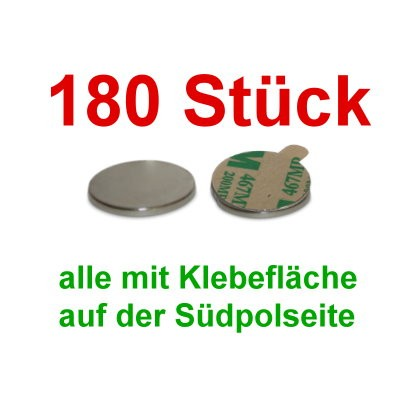 180 Scheibenmagnete 10x1 mm selbstklebend