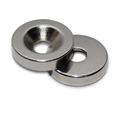Ringmagnet 15x4,5x3,5 mm N42 Nickel mit Senkung
