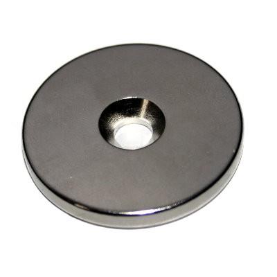 Scheibenmagnet 35x4 mm Neodym N42 mit Senkung für M6-Schraube