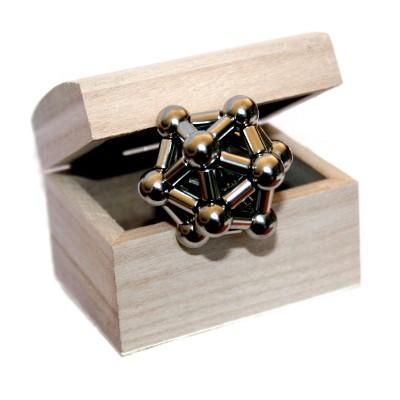 Ikosaeder mit Stabmagneten 5x8,47 mm im Holzkästchen