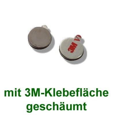 20 Scheibenmagnete 12x2 mm selbstklebend auf Polsterschaum